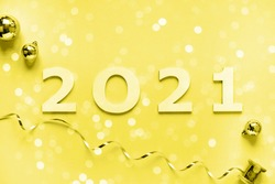 Happy New Year 2021 . Festive Shining  composition color year 2021 illuminating toning.Flat lay, top view, copy space.