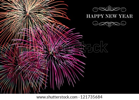 Happy New Year fireworks night scene greeting card.