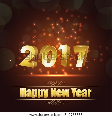 Happy new year for 2017 background with golden lettering #542935555
