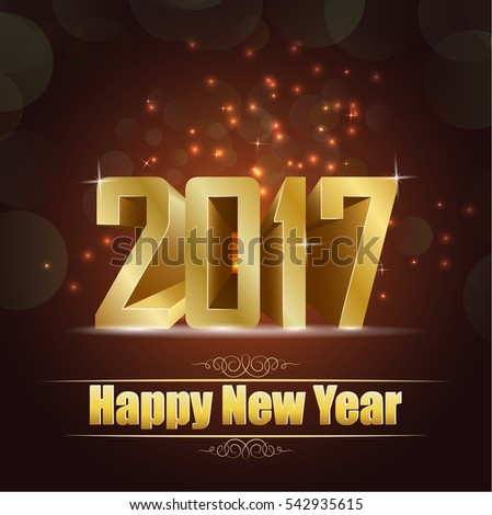 Happy new year for 2017 background with golden lettering #542935615