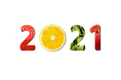 Happy New Year 2021 for healthcare. Fruit and vegetables which make 2021 number.