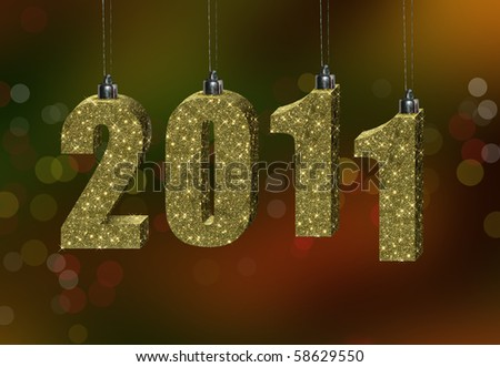 Happy New Year - 2011, formed from Christmas tree decorations, on a festive bokeh background