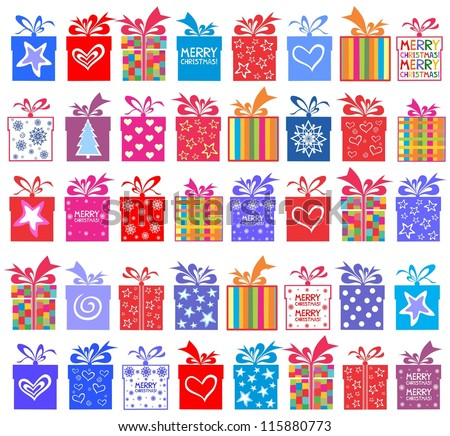 Happy New Year! Gift set. Gift boxes with bow and ribbon isolated on White background. illustration - stock photo