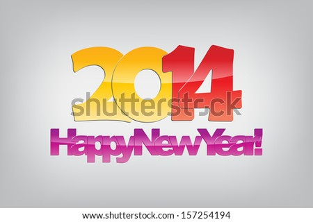 Happy new year 2014. Glossy text. Typography background. (Raster)