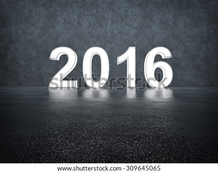 Happy new year 2016. Glowing numbers #309645065