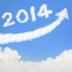 happy new year 2014, Go Go Go! white cloud and blue sky on sunny day.