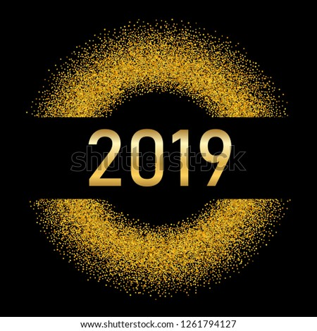 Happy New Year gold background. Golden number, circle, isolated black. Glitter, light sparkle, shimmer, shine confetti. Design Christmas greeting card, holiday celebration, party illustration #1261794127