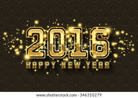 Happy New Year 2016 gold design #346310279