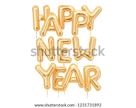 Happy New Year gold text isolated on white, golden foil balloons typography, 3d rendering