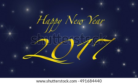 Happy New Year 2017. Golden letters on night background #491684440