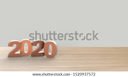 Happy new Year 2020 golden pink bold HD numbers letters on table vertical over gray light background HD, mock up, template, banner with copy space for text, design concept. 3d render illustration