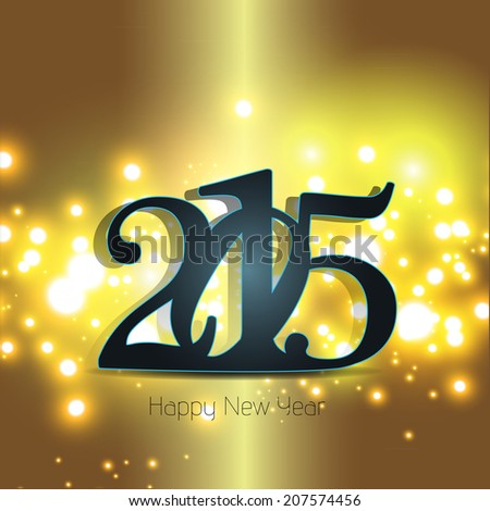 Happy new year 2015 greeting card design. #207574456