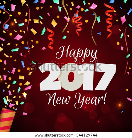 vector illustration happy new year 2017 greeting card festive illustration with colorful confetti party popper and