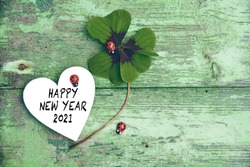 Happy New Year 2021 - Greeting Card Four-leaf clover with ladybug