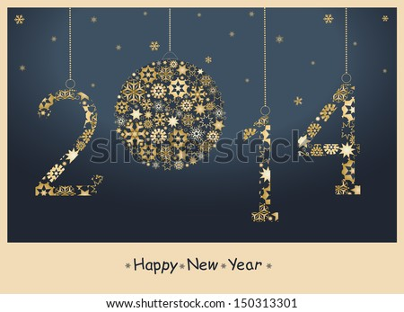 Happy New Year greeting card from golden snowflakes 2014 Year