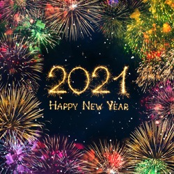 Happy New Year 2021. Greeting card with colorful fireworks and Sparkling burning text Happy New Year 2021. Beautiful square holiday Web banner