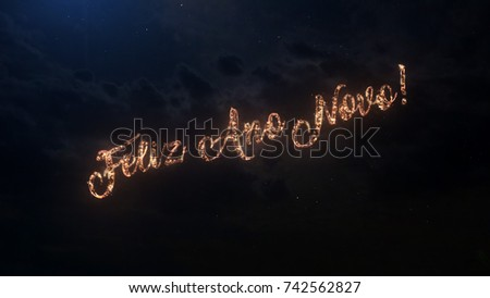 happy new year greeting text in portugal with particles and sparks on black night sky with