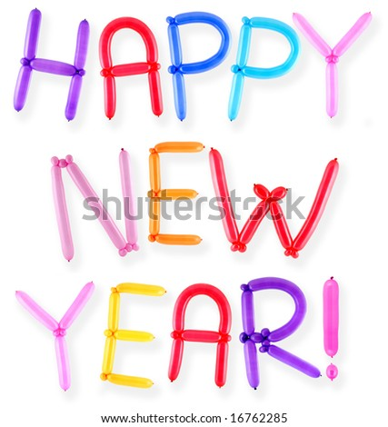Happy New Year Greeting Written With Twisted Balloon Letters Stock