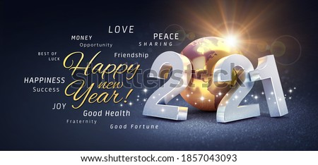 Happy New Year greetings, best wishes and 2021 date number, composed with a gold colored planet earth, on a festive black background, with glitters and stars - 3D illustration Stock photo ©
