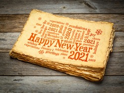 Happy New Year 2021 greetings card  - word cloud on a retro handmade paper