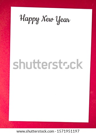 Happy new year greetings on white background. Place for text. Background image. Greeting card. Letter. #1571951197