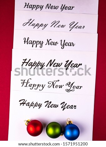 Happy new year greetings on white background. Place for text. Background image. Greeting card. Letter. #1571951200