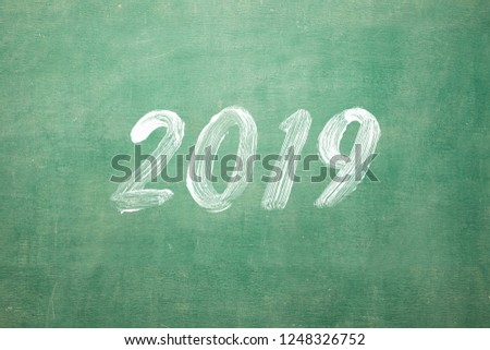 happy new year 2019 hand writting on classroom blackboard 1248326752