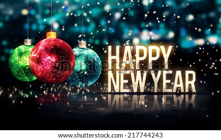 Happy New Year Hanging Baubles Blue Bokeh Beautiful 3D
