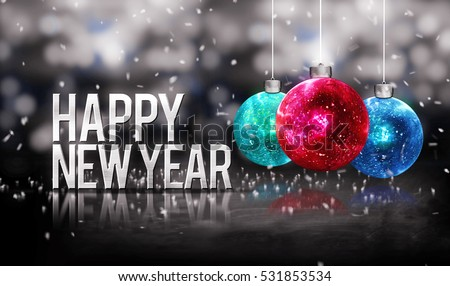 Happy New Year Hanging Baubles Blue Red Bokeh Beautiful 3D Grayscale Background