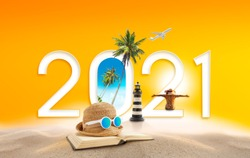 Happy new year 2021. Happiness and travel summer destination concept.