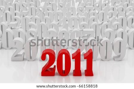 Happy new year 2011. High resolution 3d illustration. Calendar.