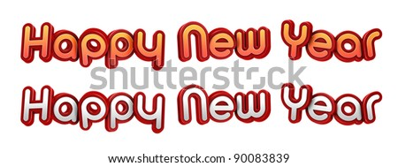 Happy New Year. High resolution 3D illustration with clipping paths.