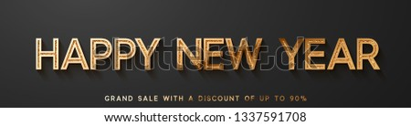 Happy New Year horizontal banner on black background text golden with bright sparkles.