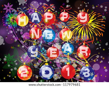 Happy New Year 2013 illustration - dark background and colored balls ornaments