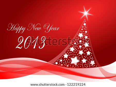 happy new year 2013 illustration with christmas tree
