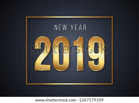 Happy New Year 2019 images with gold texture and black background  #1267179109