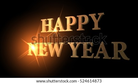 Happy New Year in golden letters, 3d rendering