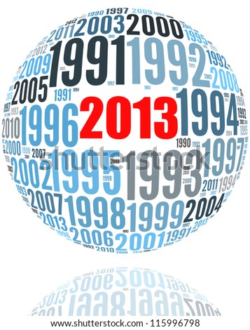 Happy New Year 2013 in number collage