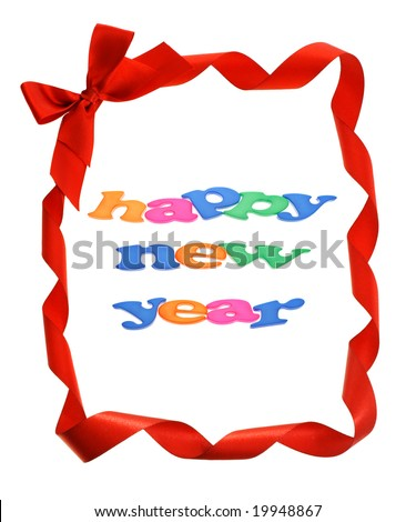 Happy New Year in red bow ribbons border with copy space