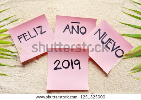 happy new year 2019 in spanish feliz ao nuevo 2019 on the sand