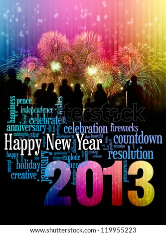 Happy New Year 2013 info-text clouds arrangement concept with fireworks and colorful as background - stock photo
