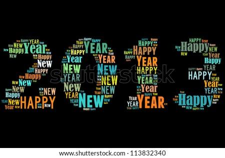 Happy new year 2013 info-text graphics arrangement on black background