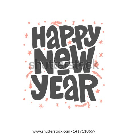 Happy New Year lettering clip art isolated on white background. Handwritten poster or greeting card. New Year typography.