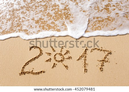 Happy New Year 2017, lettering on the beach. #452079481