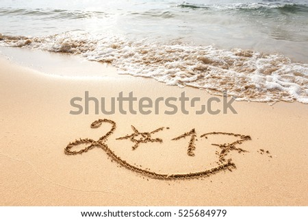 Happy New Year 2017, lettering on the beach #525684979