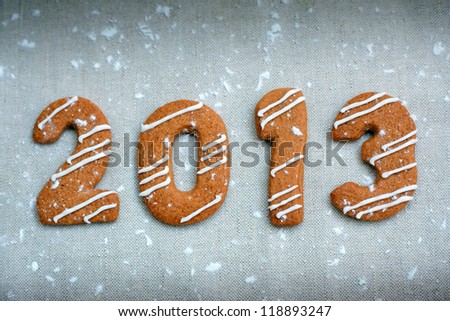 Happy new year 2013 message, christmas cookies in shape numeral