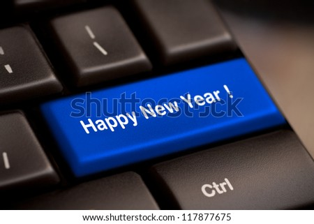happy new year message, keyboard enter key