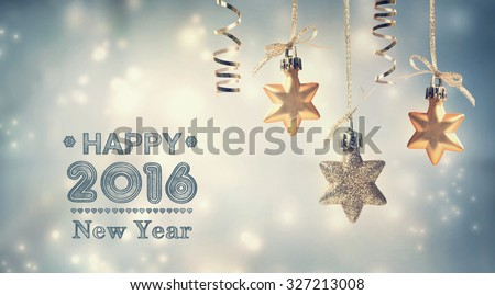 Happy New Year 2016 message with hanging star ornaments #327213008