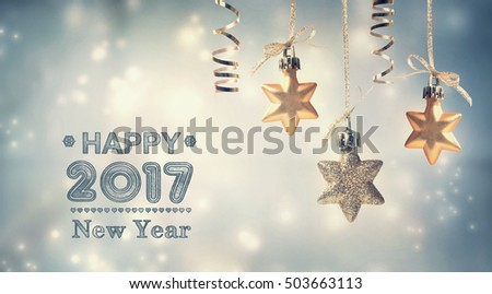 Happy New Year 2017 message with hanging star ornaments #503663113