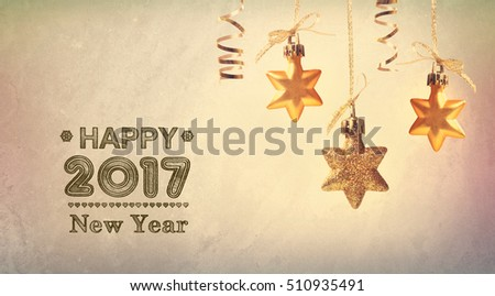 Happy New Year 2017 message with hanging star ornaments #510935491